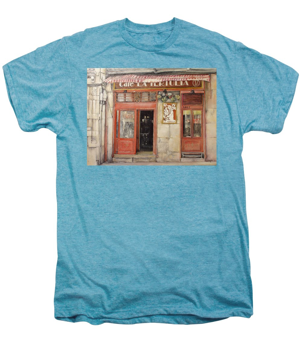 Cafe Men's Premium T-Shirt featuring the painting Old Cafe- Santander Spain by Tomas Castano