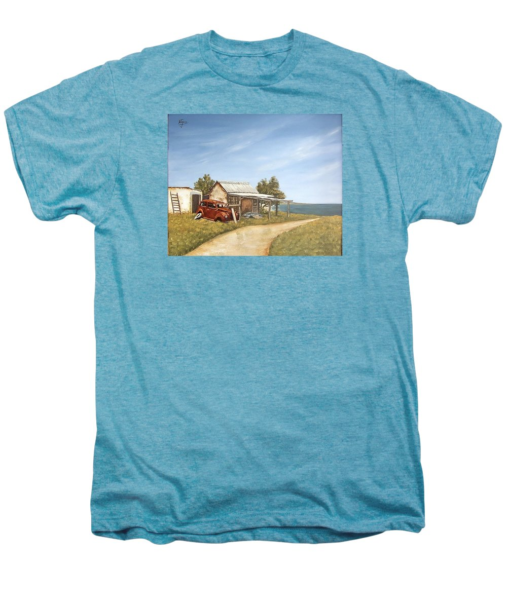 Old House Sea Seascape Landscape Men's Premium T-Shirt featuring the painting Old House By The Sea by Natalia Tejera