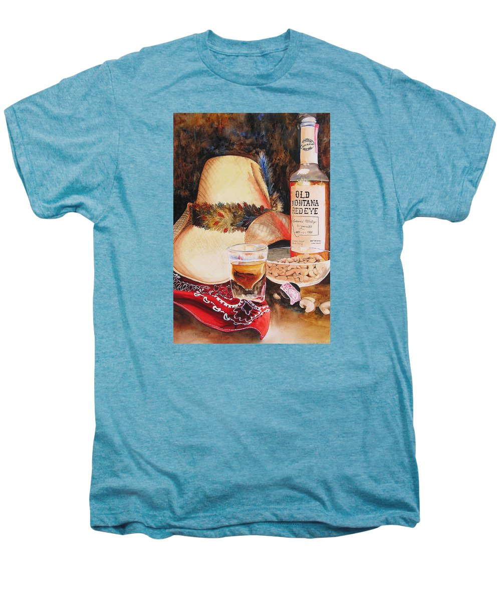 Whiskey Men's Premium T-Shirt featuring the painting Old Montana Red Eye by Karen Stark