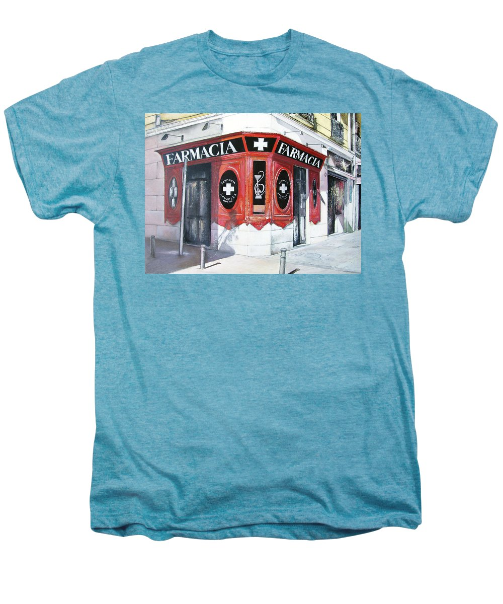 Pharmacy Men's Premium T-Shirt featuring the painting Old Pharmacy by Tomas Castano