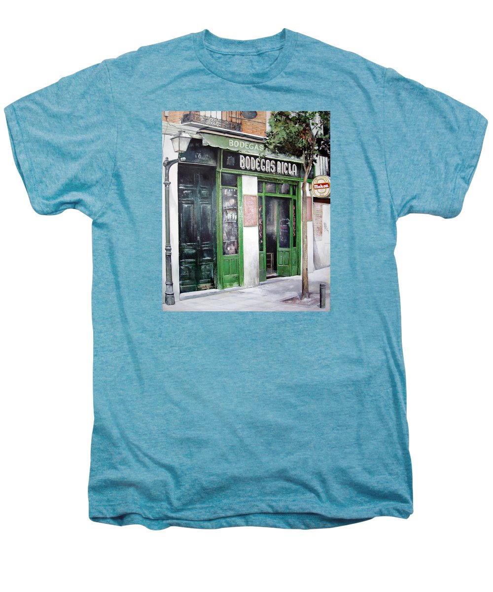Bodegas Men's Premium T-Shirt featuring the painting Old Tavern-madrid by Tomas Castano