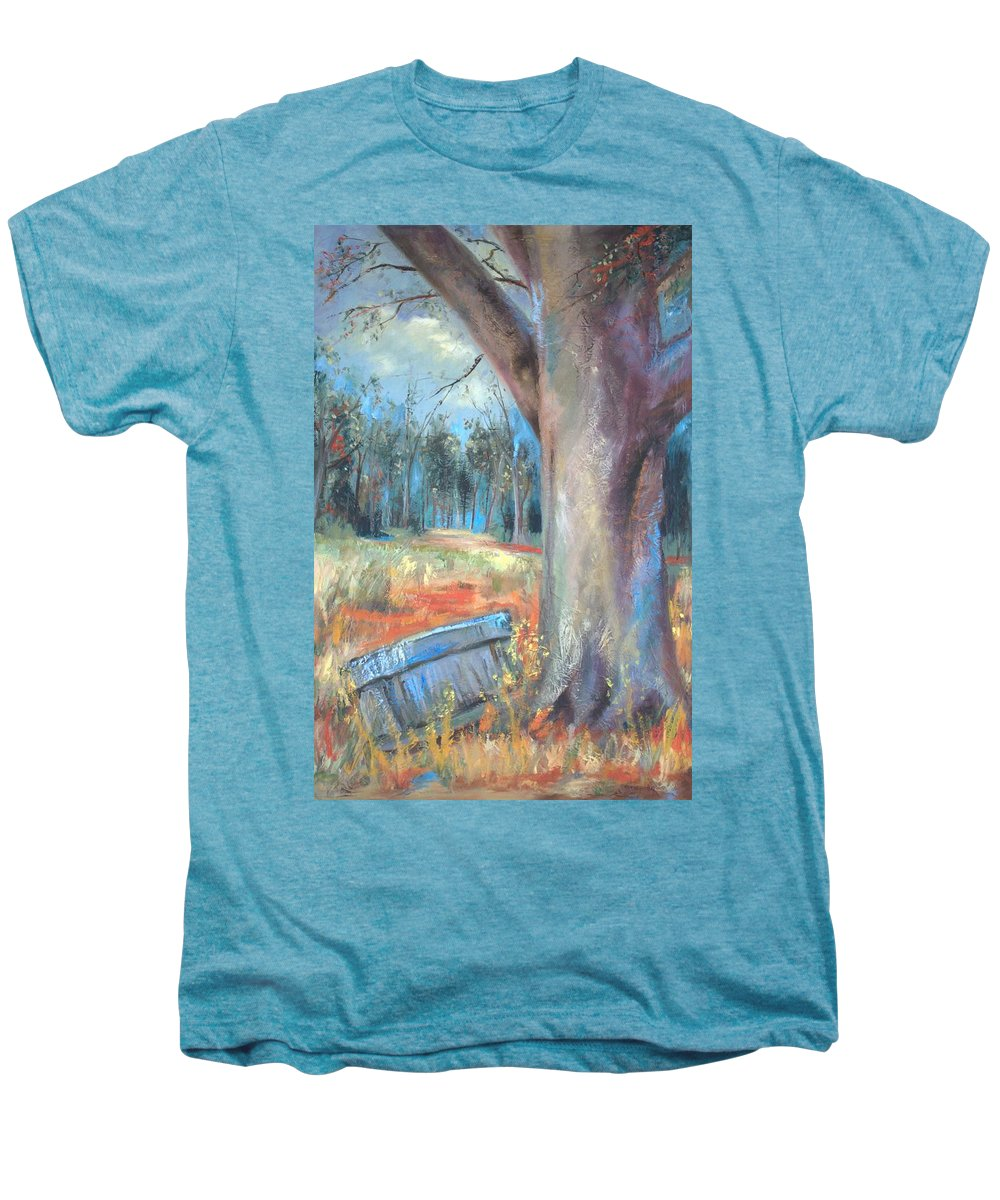 Country Scenes Men's Premium T-Shirt featuring the painting Old Times by Ginger Concepcion