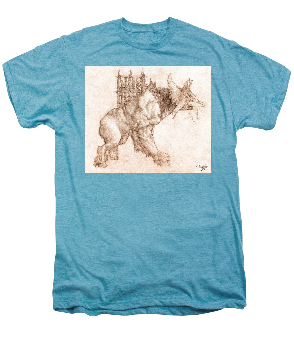 Lord Of The Rings Men's Premium T-Shirt featuring the drawing Oliphaunt by Curtiss Shaffer