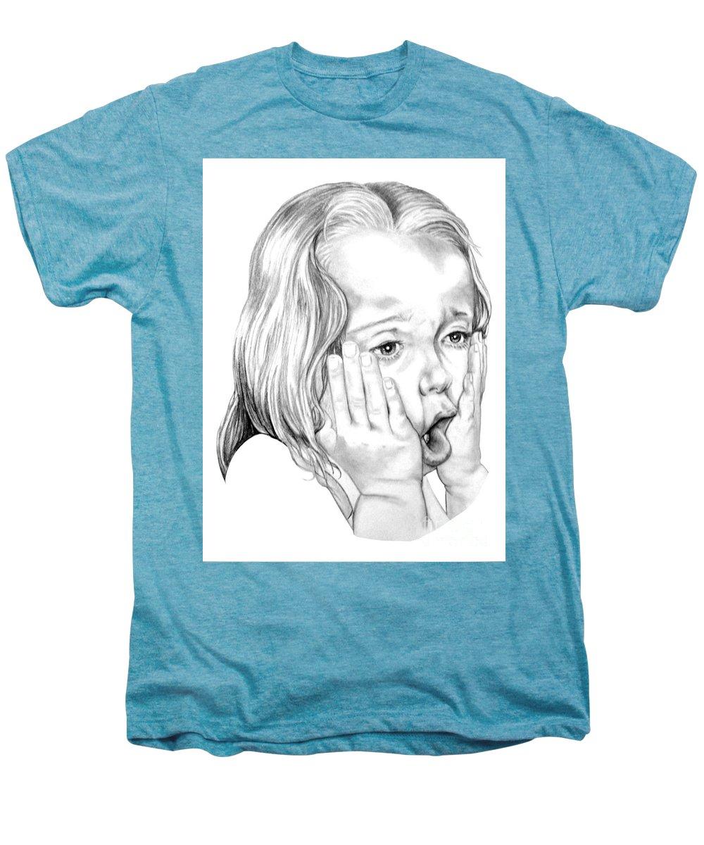 Portrait Men's Premium T-Shirt featuring the drawing OMG by Murphy Elliott