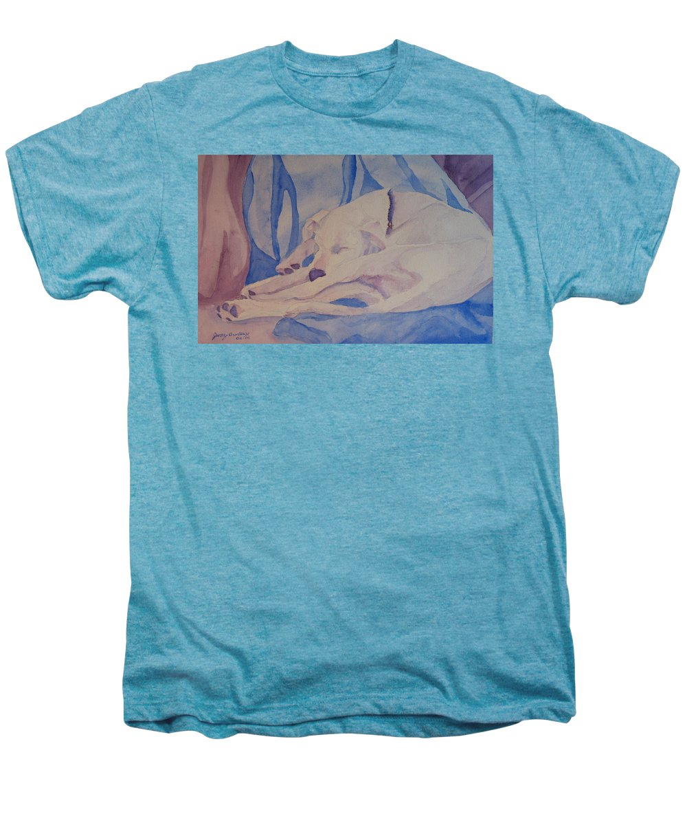 Dog Men's Premium T-Shirt featuring the painting On Fallen Blankets by Jenny Armitage