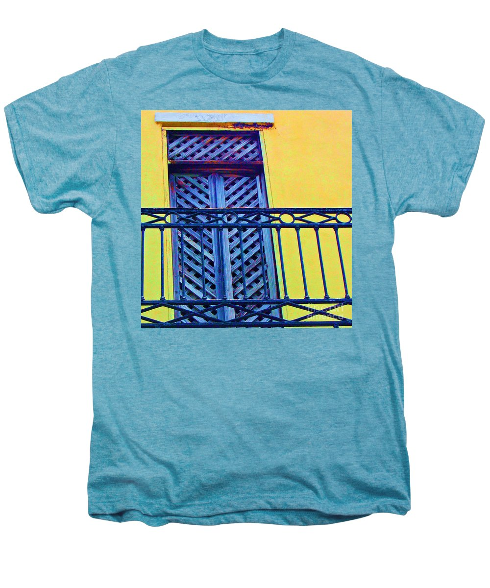 Balcony Men's Premium T-Shirt featuring the photograph On The Balcony by Debbi Granruth