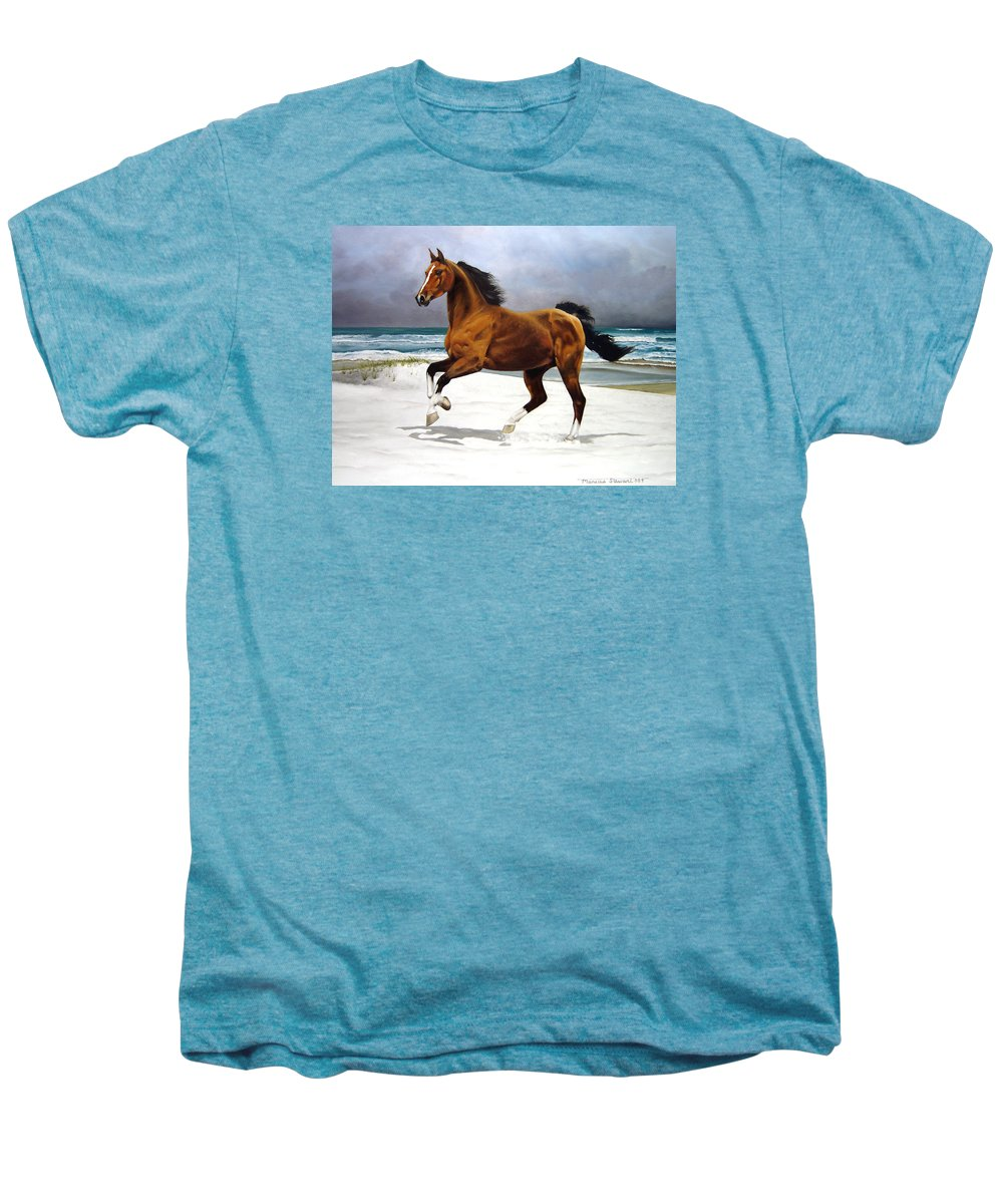Horse Men's Premium T-Shirt featuring the painting On The Beach by Marc Stewart