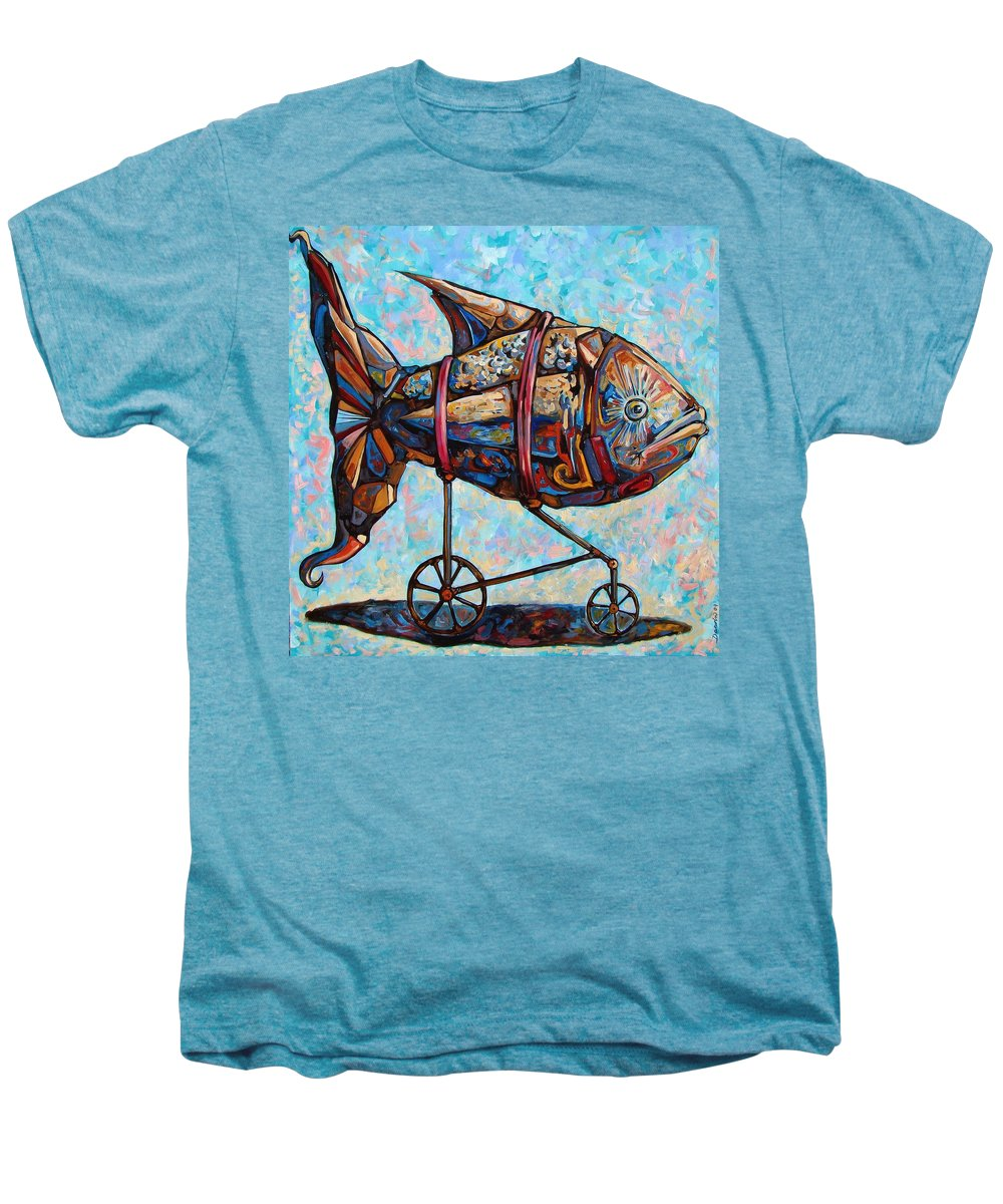 Surrealism Men's Premium T-Shirt featuring the painting On The Conquer For Land by Darwin Leon