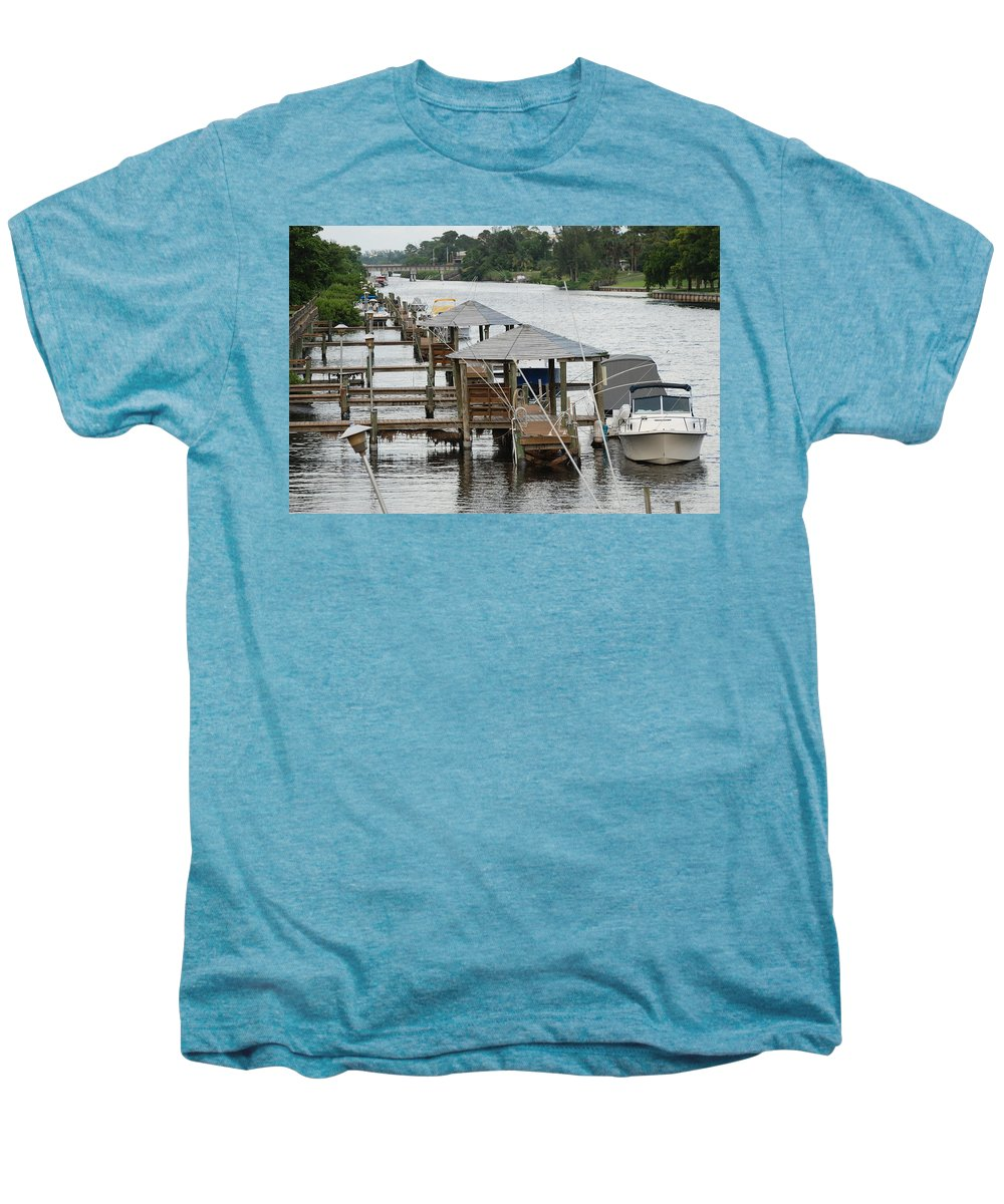 Boats Men's Premium T-Shirt featuring the photograph On The Hillsboro Canal by Rob Hans