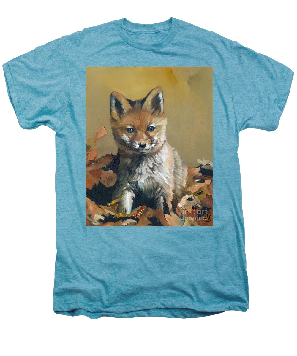 Fox Men's Premium T-Shirt featuring the painting Once Upon A Time by J W Baker