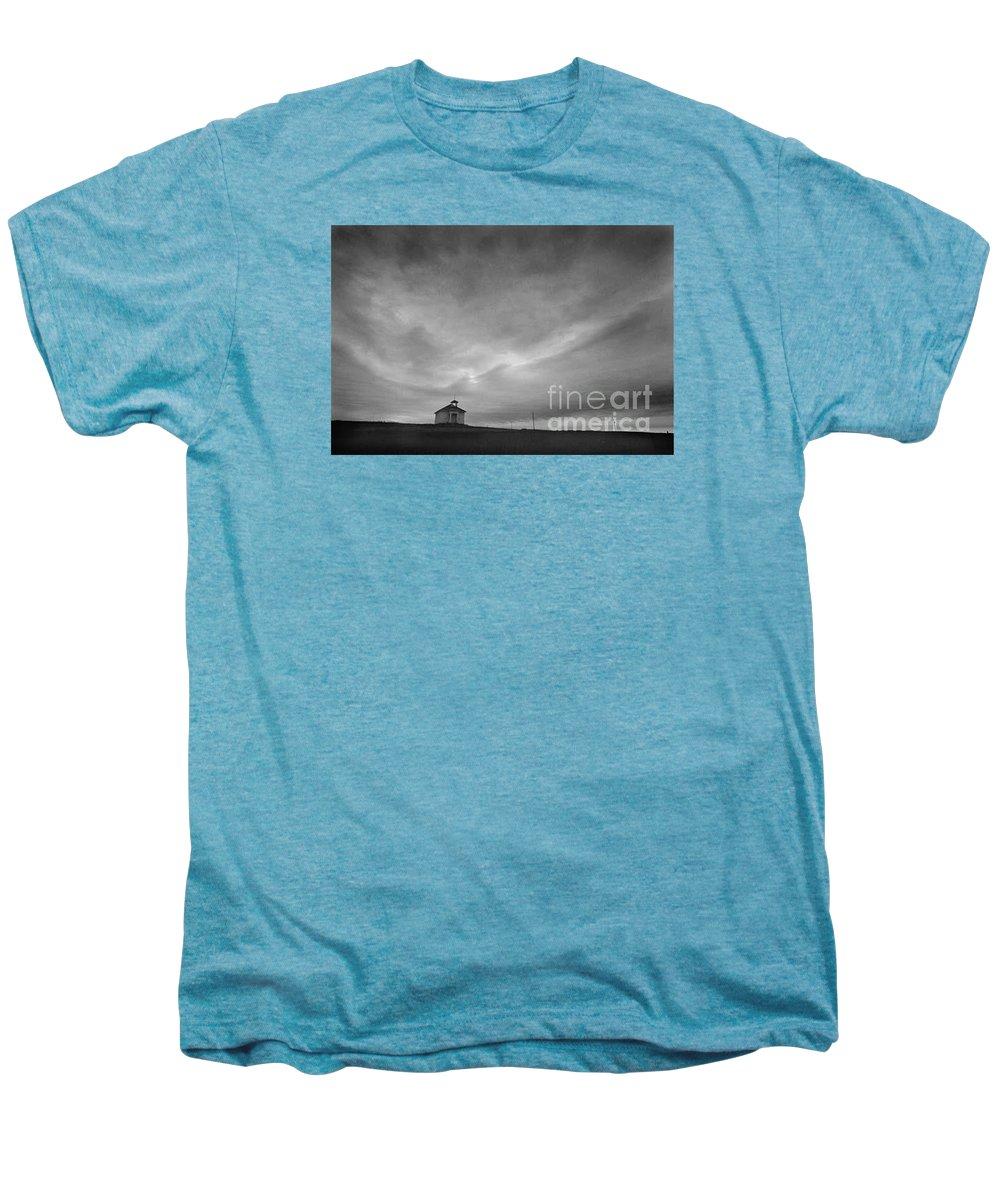 Landscape Men's Premium T-Shirt featuring the photograph One Room Schoolhouse by Michael Ziegler