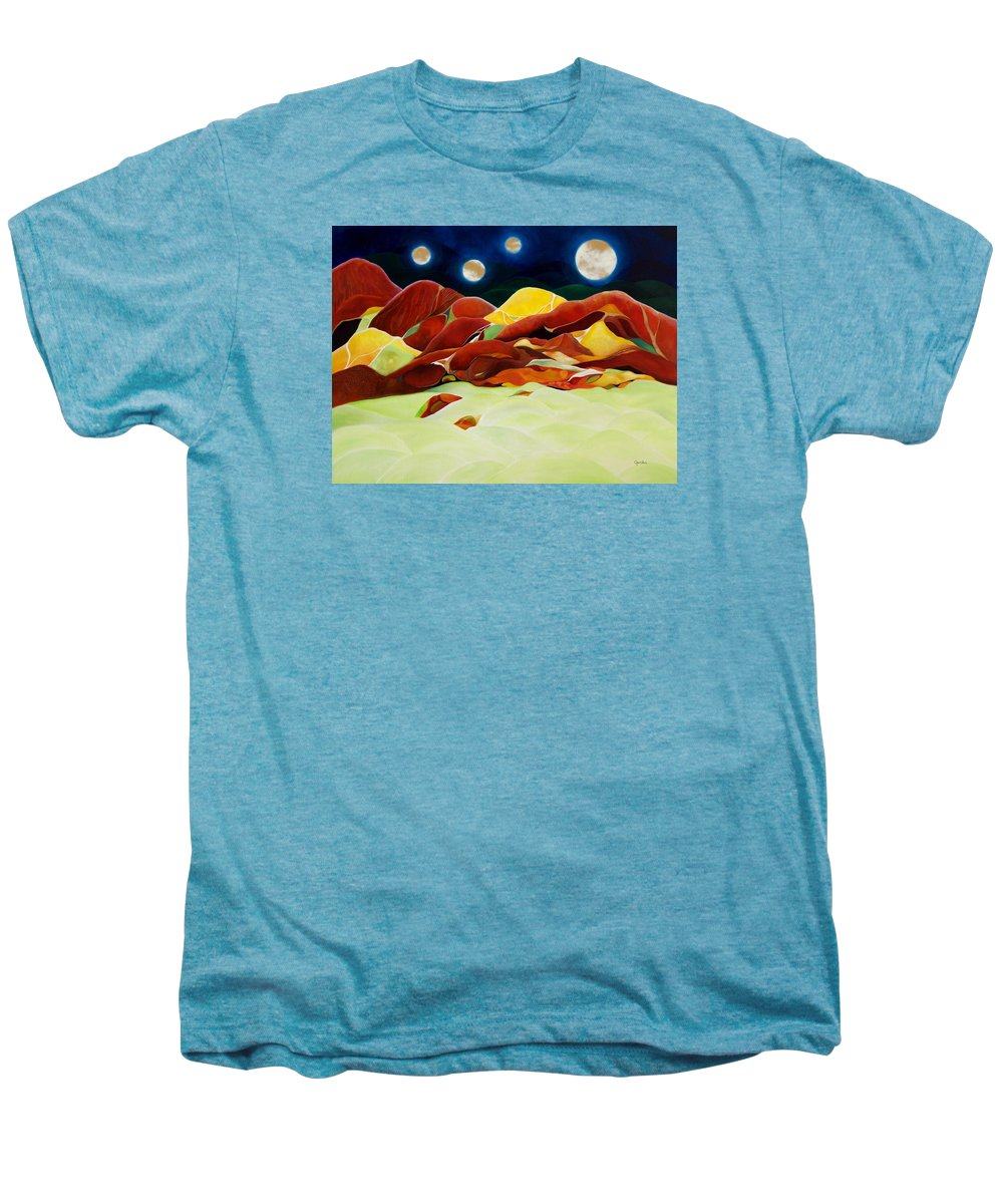 Oil Men's Premium T-Shirt featuring the painting One Step Up From Third by Peggy Guichu