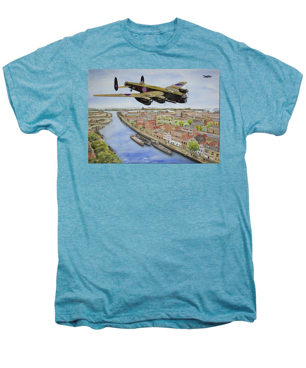 Lancaster Bomber Men's Premium T-Shirt featuring the painting Operation Manna II by Gale Cochran-Smith