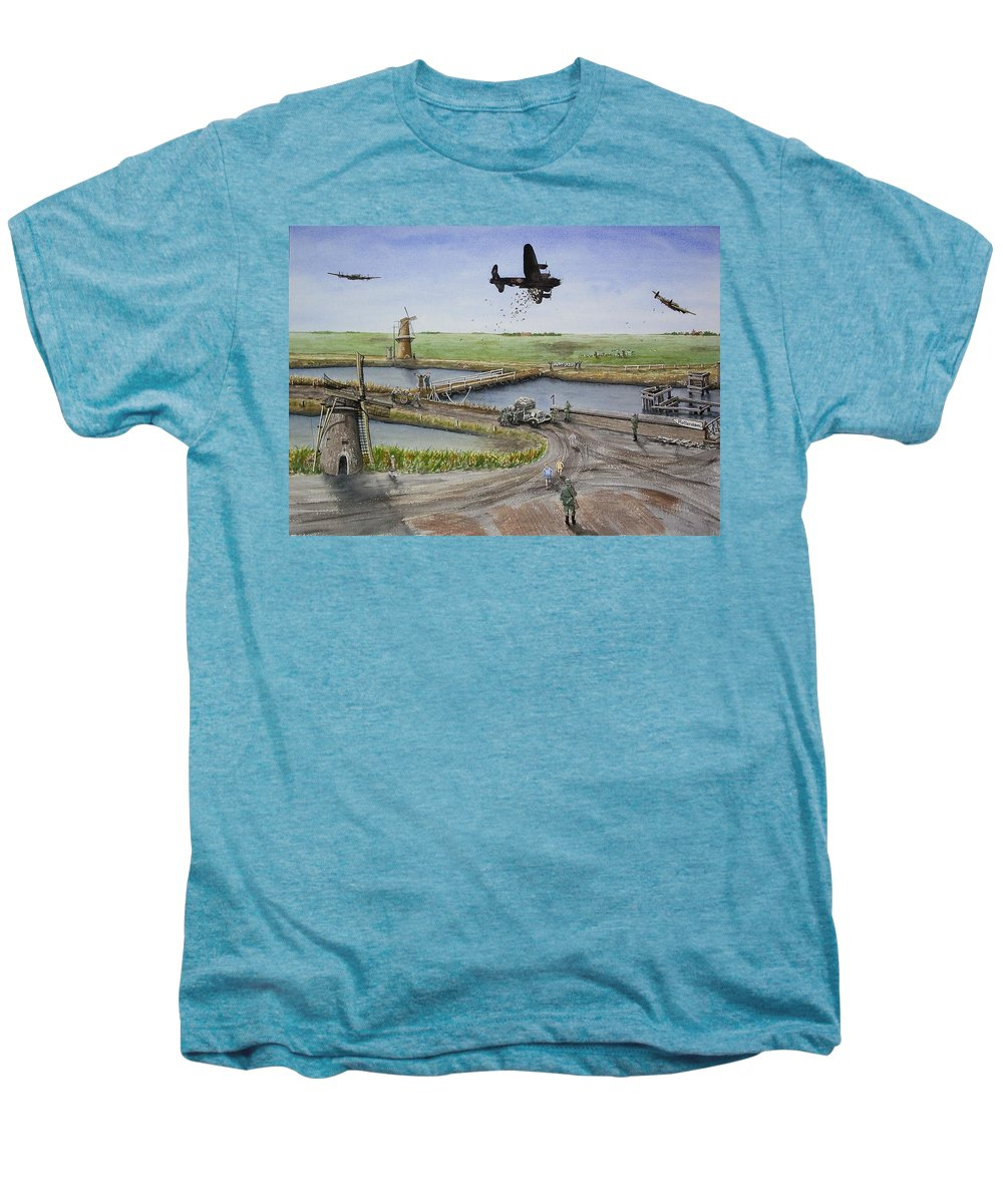 Lancaster Bomber Men's Premium T-Shirt featuring the painting Operation Manna IIi by Gale Cochran-Smith