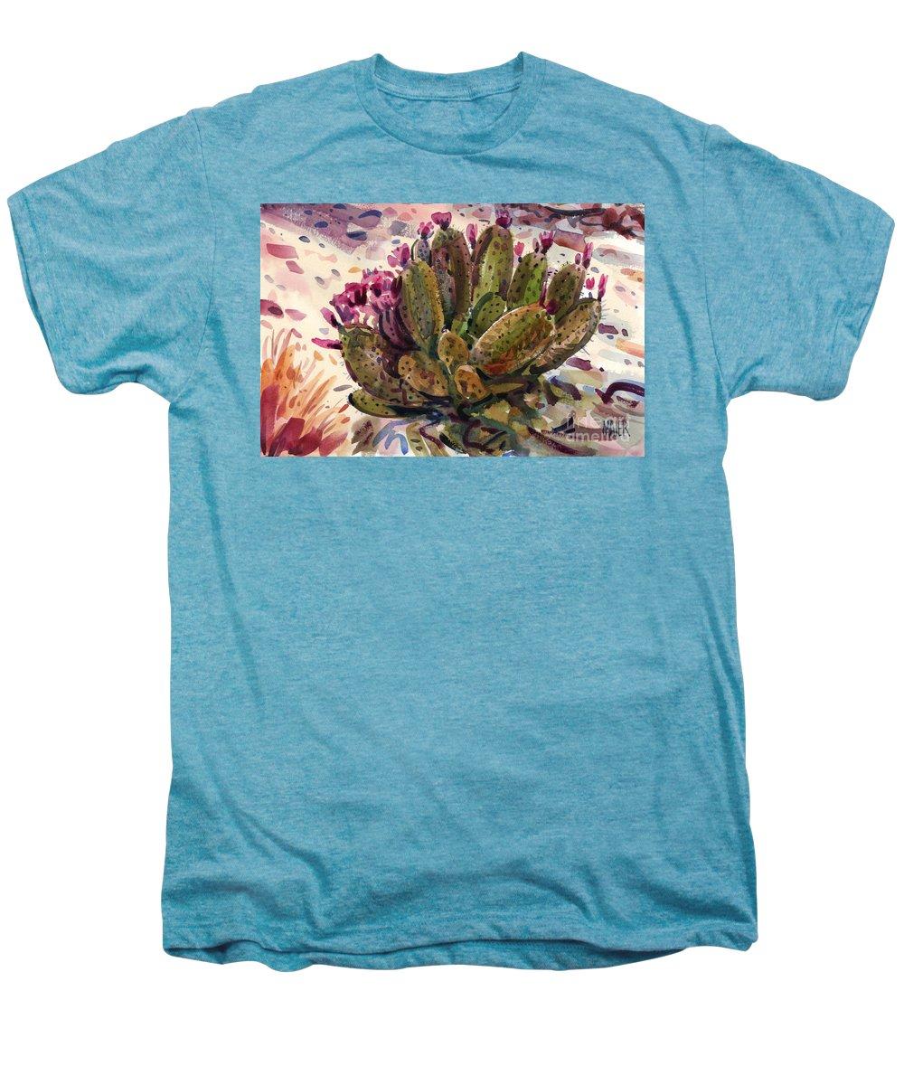 Opuntia Cactus Men's Premium T-Shirt featuring the painting Opuntia Cactus by Donald Maier