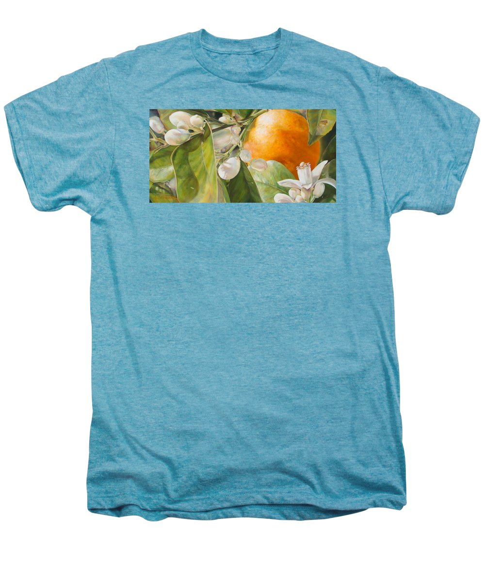 Floral Painting Men's Premium T-Shirt featuring the painting Orange Fleurie by Dolemieux