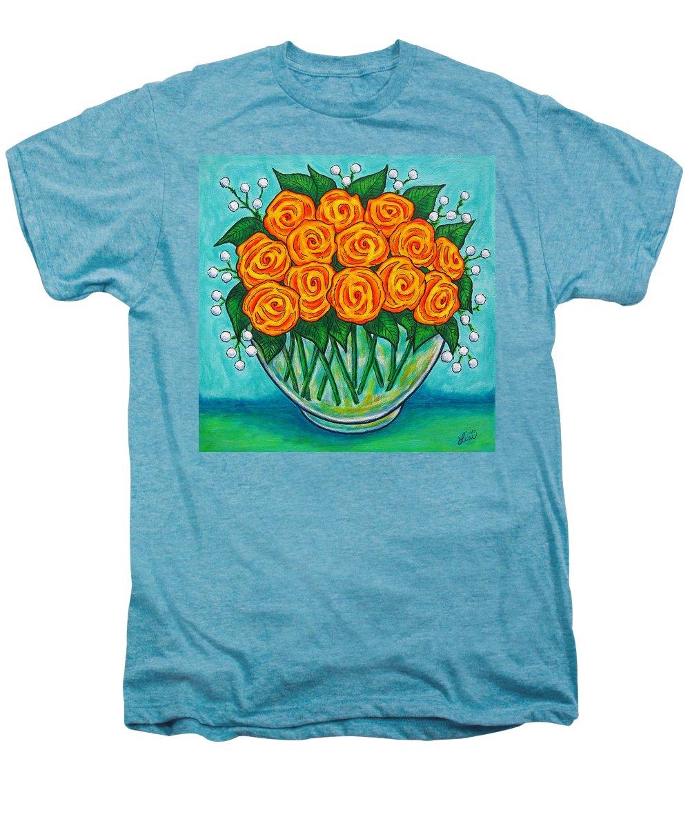 Orange Men's Premium T-Shirt featuring the painting Orange Passion by Lisa Lorenz