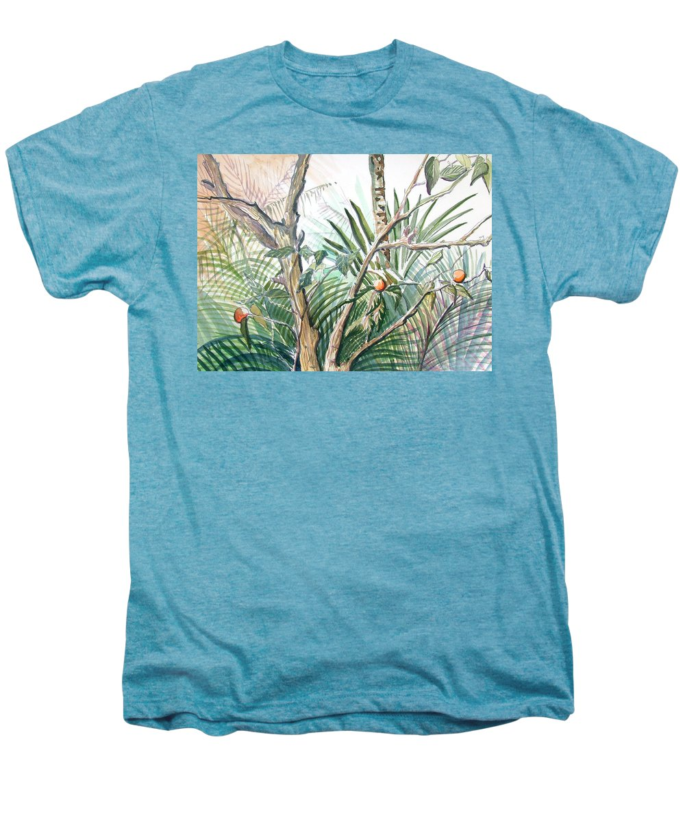 Fruit Men's Premium T-Shirt featuring the painting Orange Tree by Mindy Newman