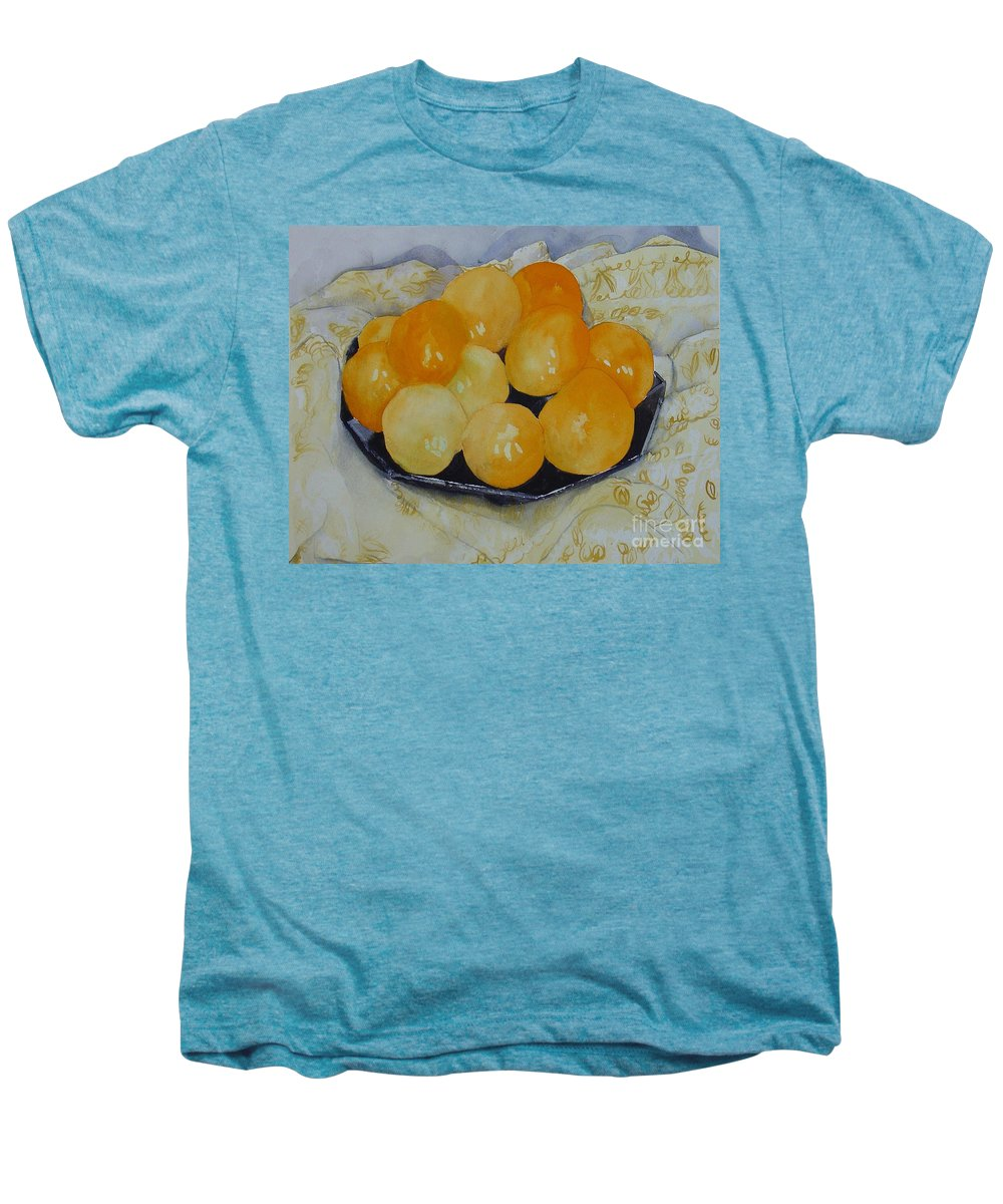 Still Life Watercolor Original Leilaatkinson Oranges Men's Premium T-Shirt featuring the painting Oranges by Leila Atkinson