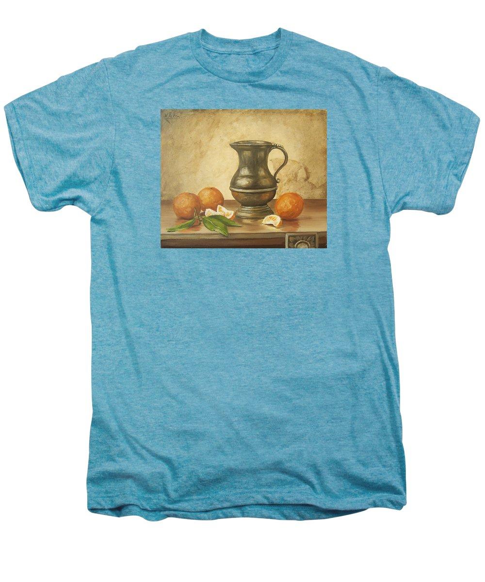 Still Life Men's Premium T-Shirt featuring the painting Oranges by Natalia Tejera
