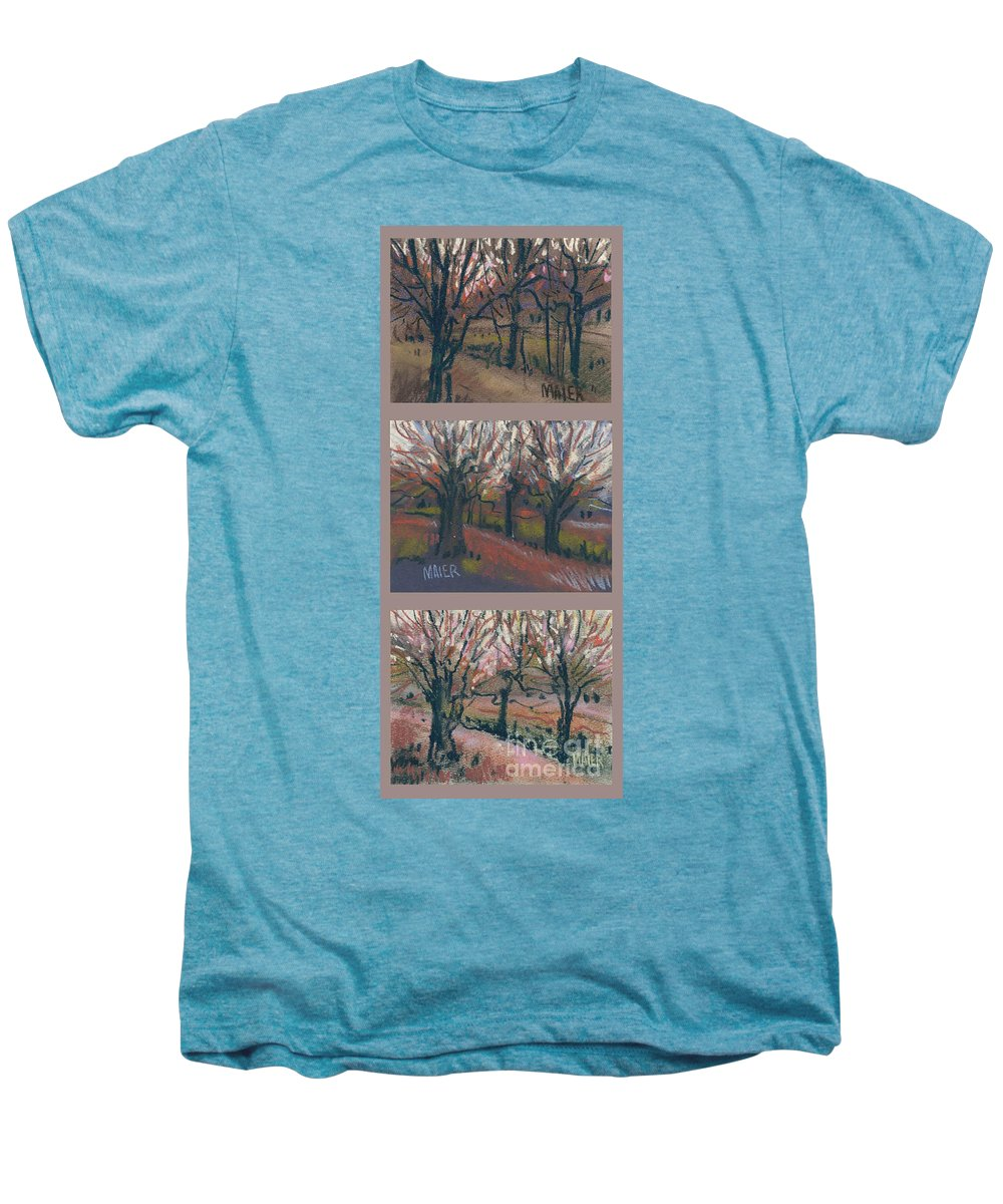 Pastel Men's Premium T-Shirt featuring the drawing Orchard Sunset by Donald Maier