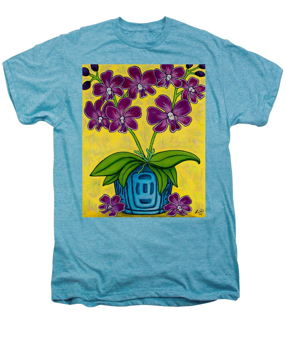 Orchids Men's Premium T-Shirt featuring the painting Orchid Delight by Lisa Lorenz