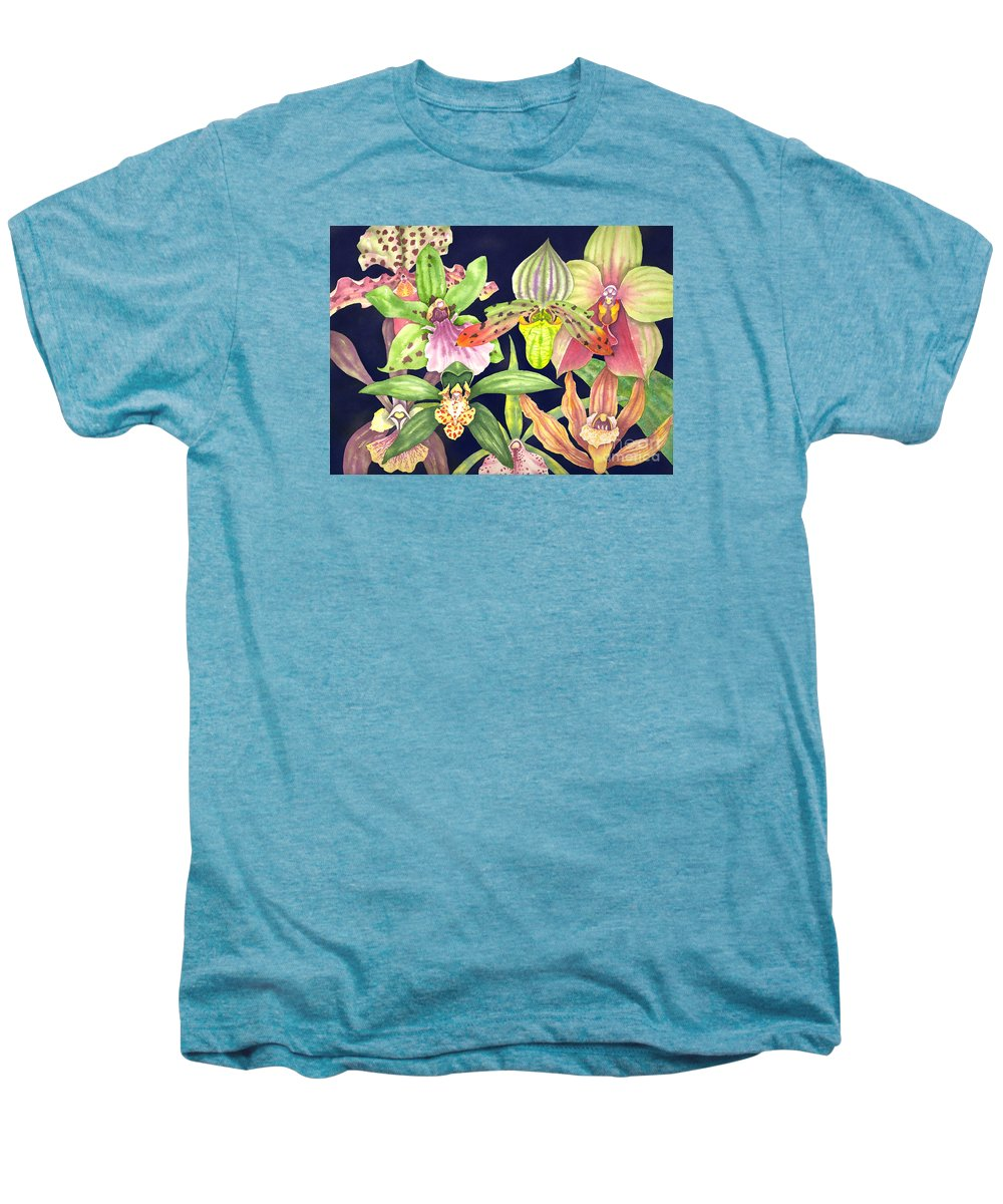 Orchids Men's Premium T-Shirt featuring the painting Orchids by Lucy Arnold