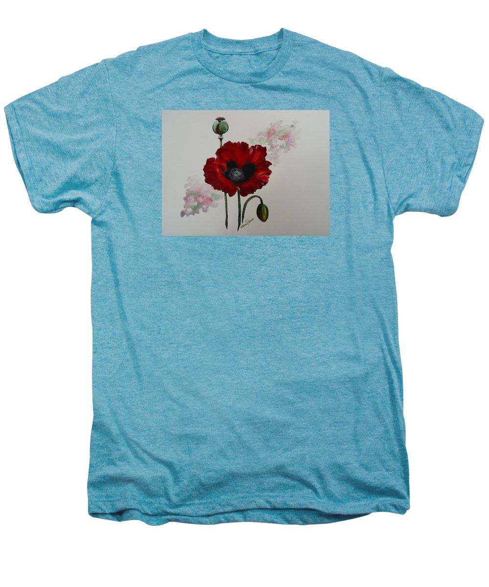 Floral Poppy Red Flower Men's Premium T-Shirt featuring the painting Oriental Poppy by Karin Dawn Kelshall- Best