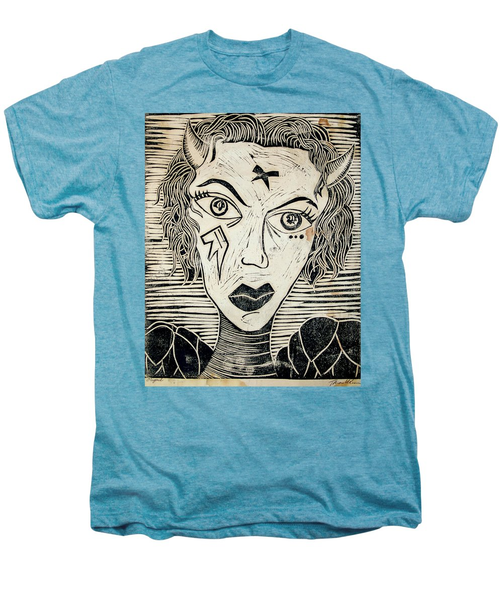 Block Print Men's Premium T-Shirt featuring the print Original Devil Block Print by Thomas Valentine