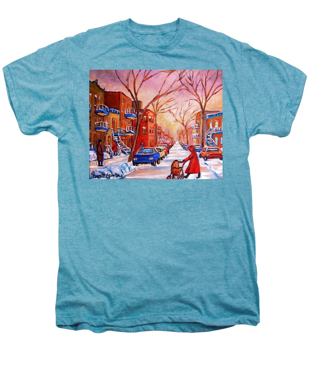Montreal Men's Premium T-Shirt featuring the painting Out For A Walk With Mom by Carole Spandau