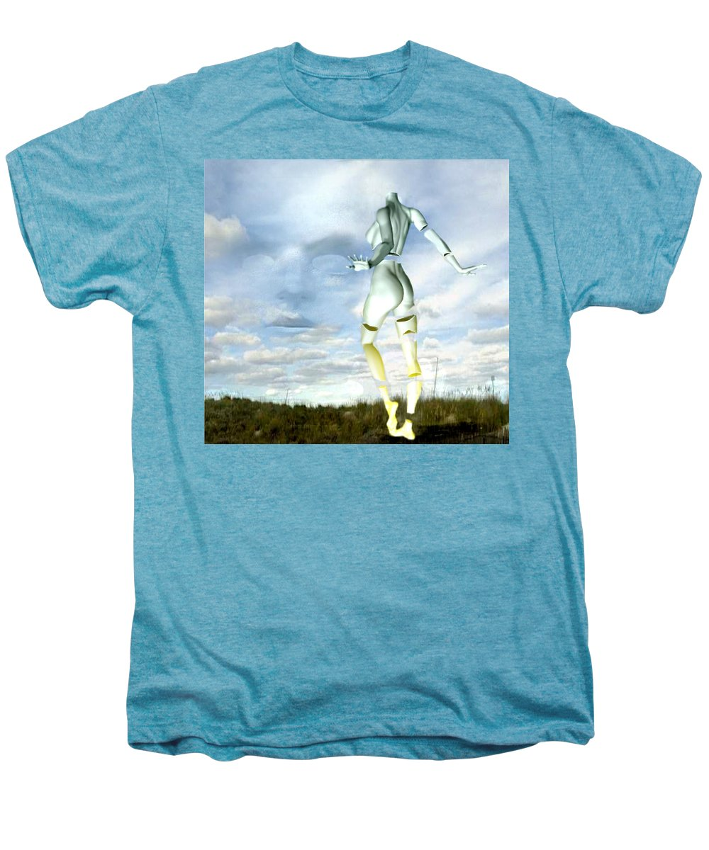 Sky Naked Woman Surreal Dance Men's Premium T-Shirt featuring the digital art Out Of My Mind... by Veronica Jackson
