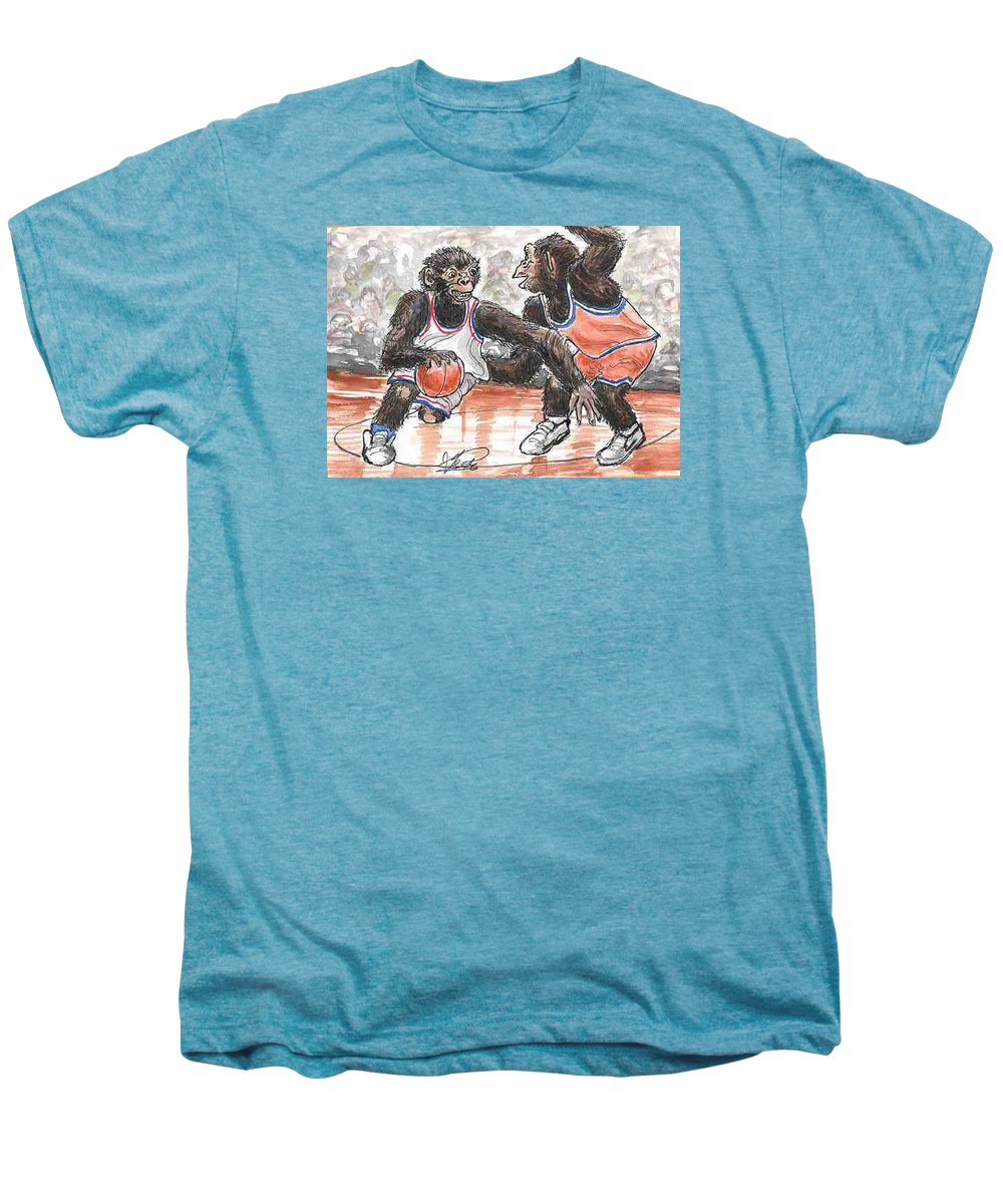 Basketball Men's Premium T-Shirt featuring the painting Out Of My Way by George I Perez