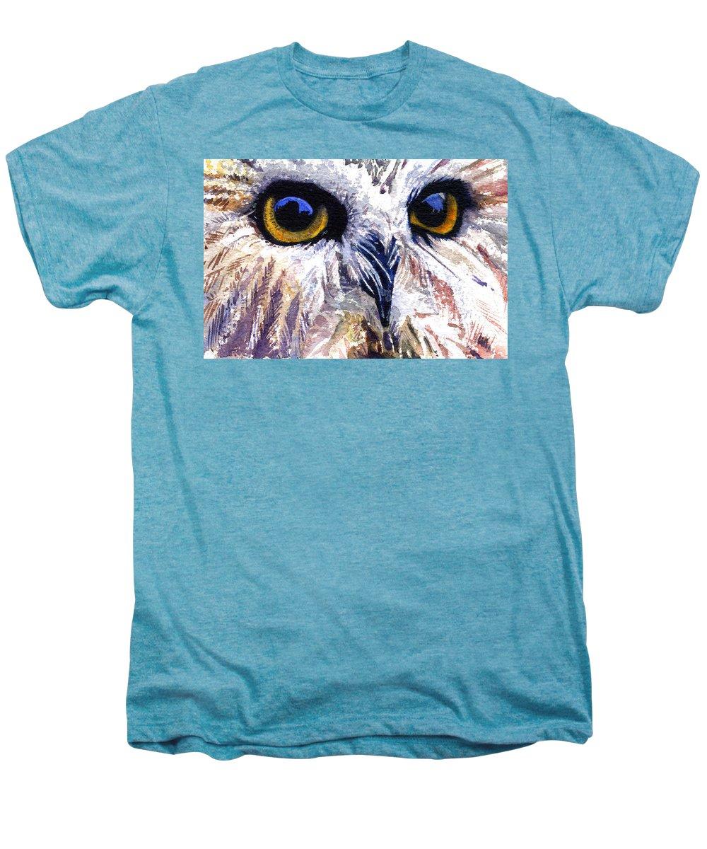 Eye Men's Premium T-Shirt featuring the painting Owl by John D Benson