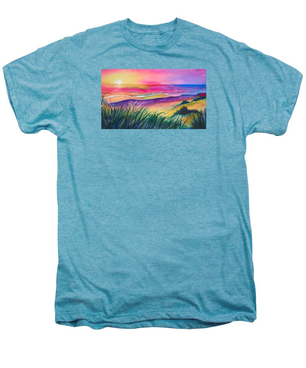 Pacific Men's Premium T-Shirt featuring the painting Pacific Evening by Karen Stark