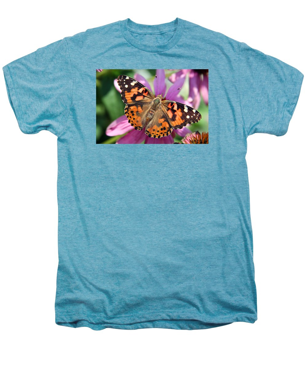 Painted Lady Men's Premium T-Shirt featuring the photograph Painted Lady Butterfly by Margie Wildblood