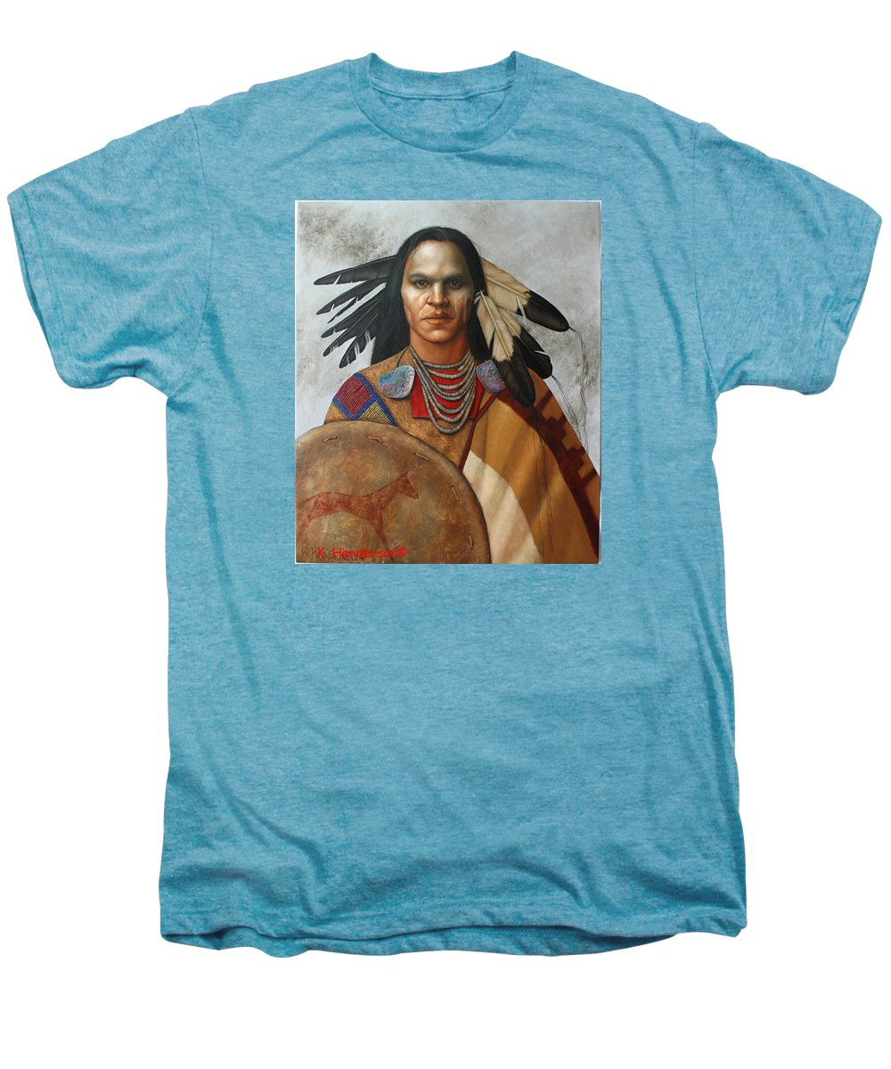 American Indian Men's Premium T-Shirt featuring the painting Pale Rider By K Henderson by K Henderson