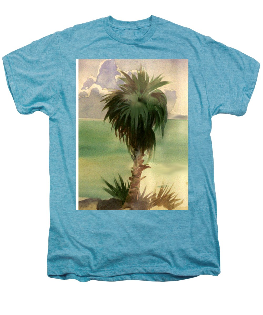 Palm Men's Premium T-Shirt featuring the painting Palm At Horseshoe Cove by Neal Smith-Willow