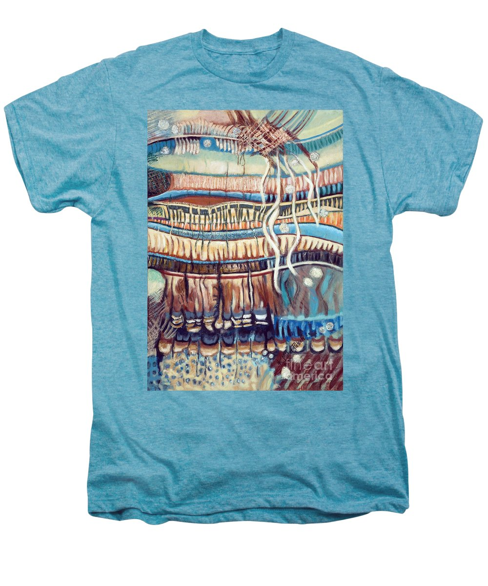 Abstract Men's Premium T-Shirt featuring the painting Palm Contractions by Kerryn Madsen-Pietsch
