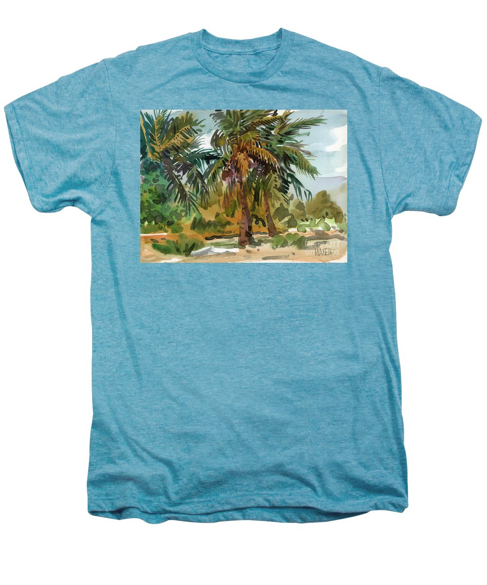 Palm Tree Men's Premium T-Shirt featuring the painting Palms In Key West by Donald Maier