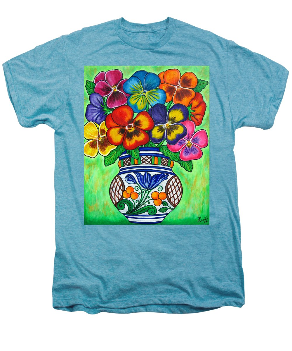 Flower Men's Premium T-Shirt featuring the painting Pansy Parade by Lisa Lorenz