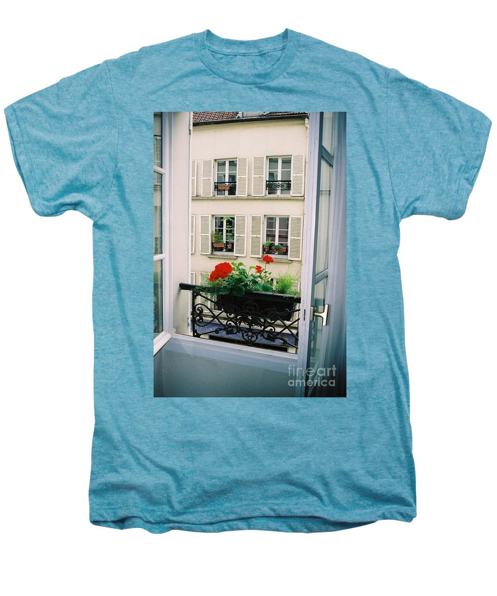 Window Men's Premium T-Shirt featuring the photograph Paris Day Windowbox by Nadine Rippelmeyer