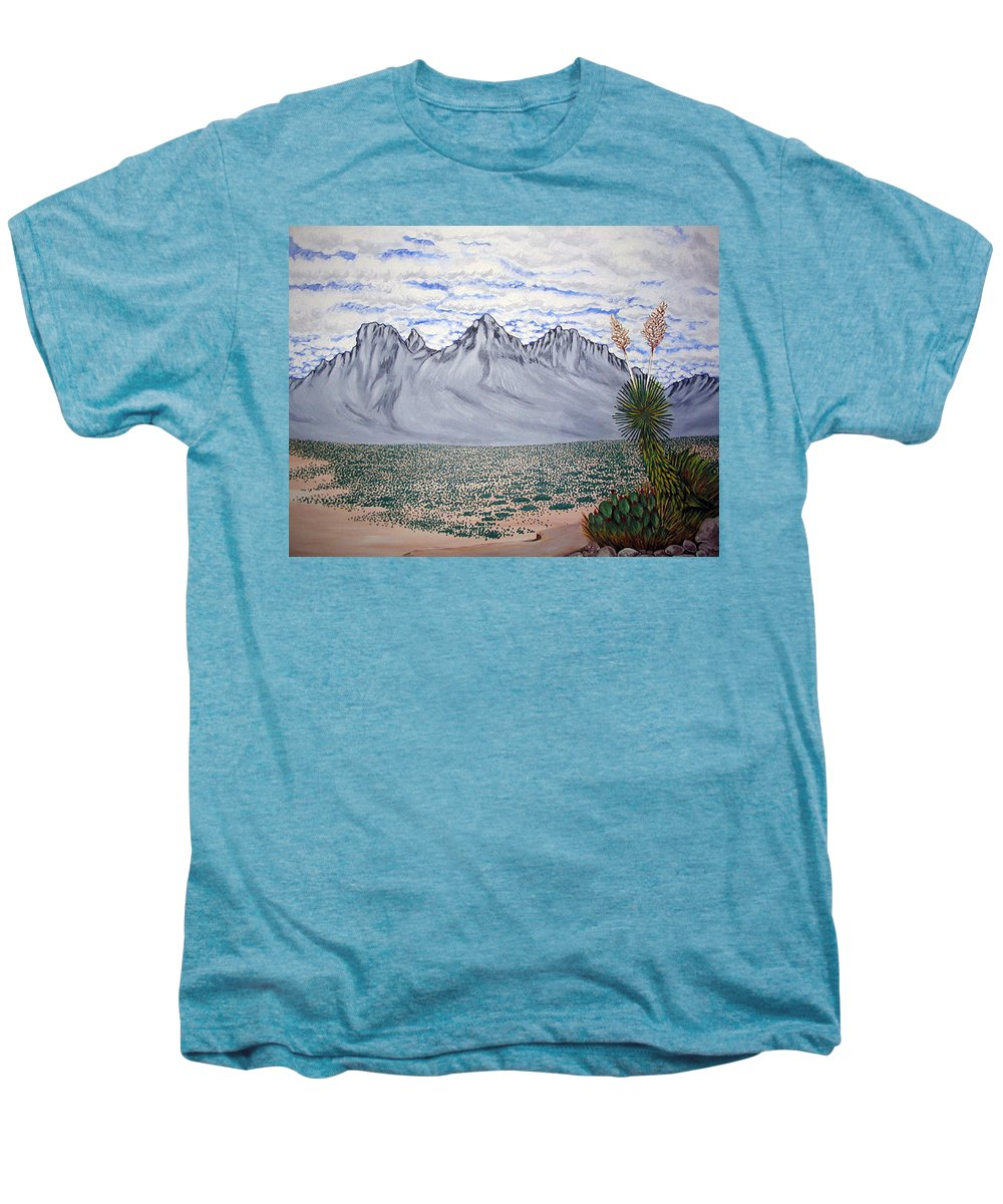 Desertscape Men's Premium T-Shirt featuring the painting Pass Of The North by Marco Morales