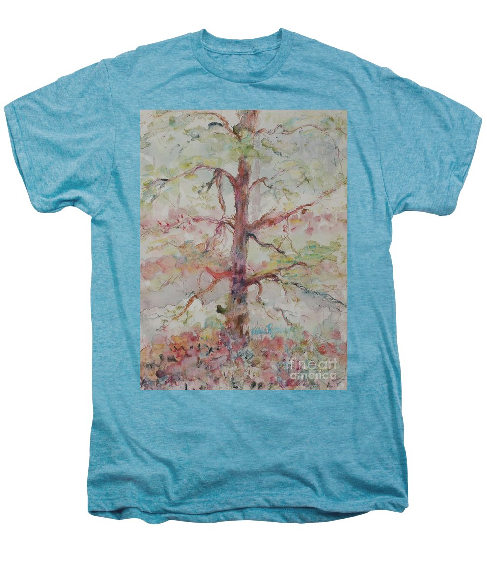 Forest Men's Premium T-Shirt featuring the painting Pastel Forest by Nadine Rippelmeyer