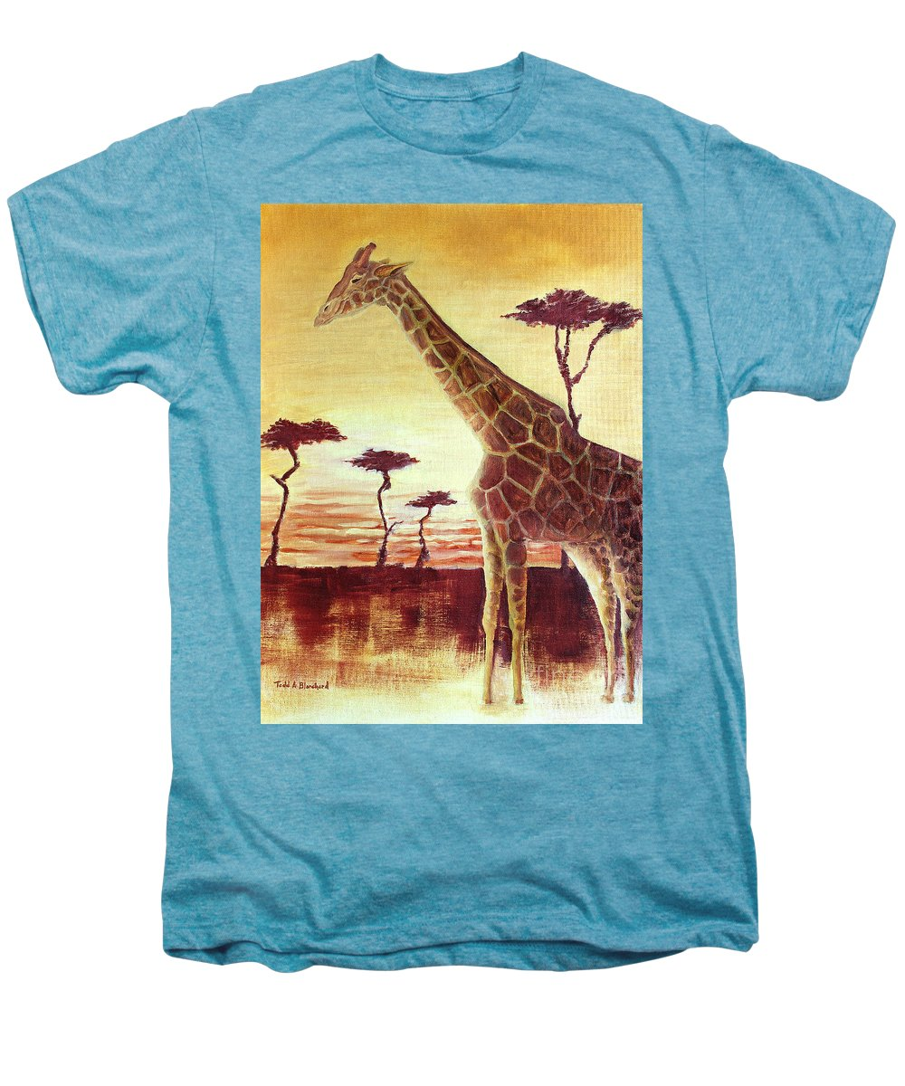 Animal Men's Premium T-Shirt featuring the painting Patches by Todd A Blanchard