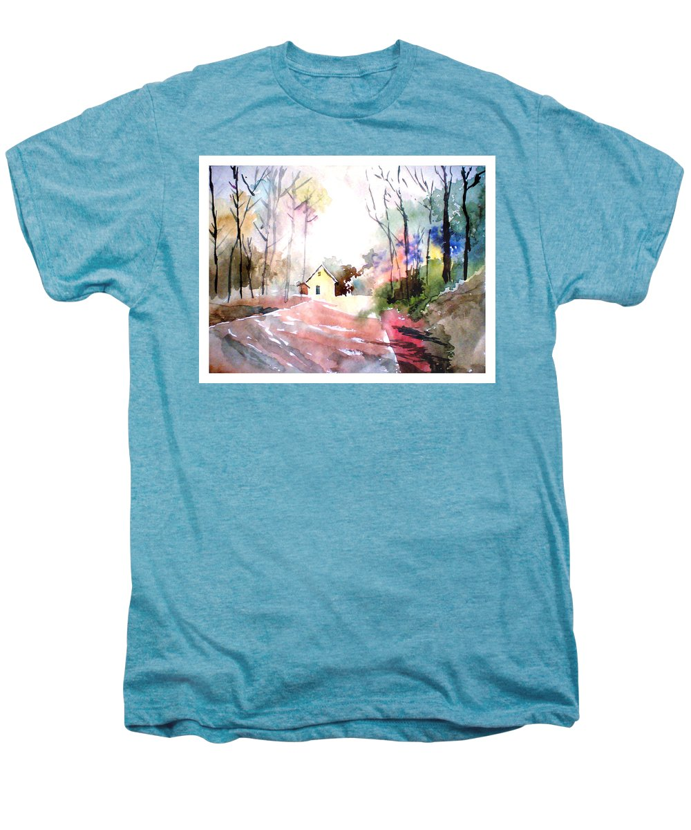 Nature Men's Premium T-Shirt featuring the painting Path In Colors by Anil Nene