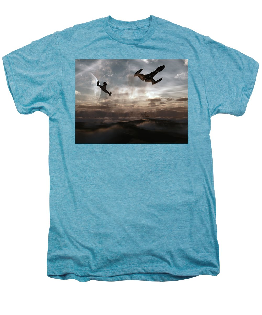 Sci-fi Men's Premium T-Shirt featuring the digital art Patrol Of Sector 9 by Richard Rizzo