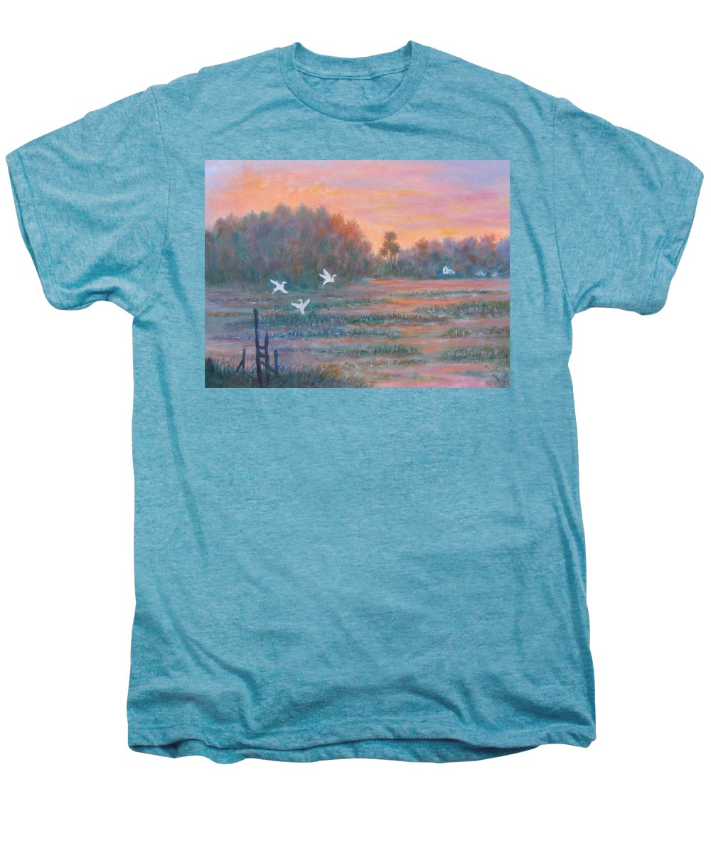 Low Country; Egrets; Sunset Men's Premium T-Shirt featuring the painting Pawleys Island by Ben Kiger