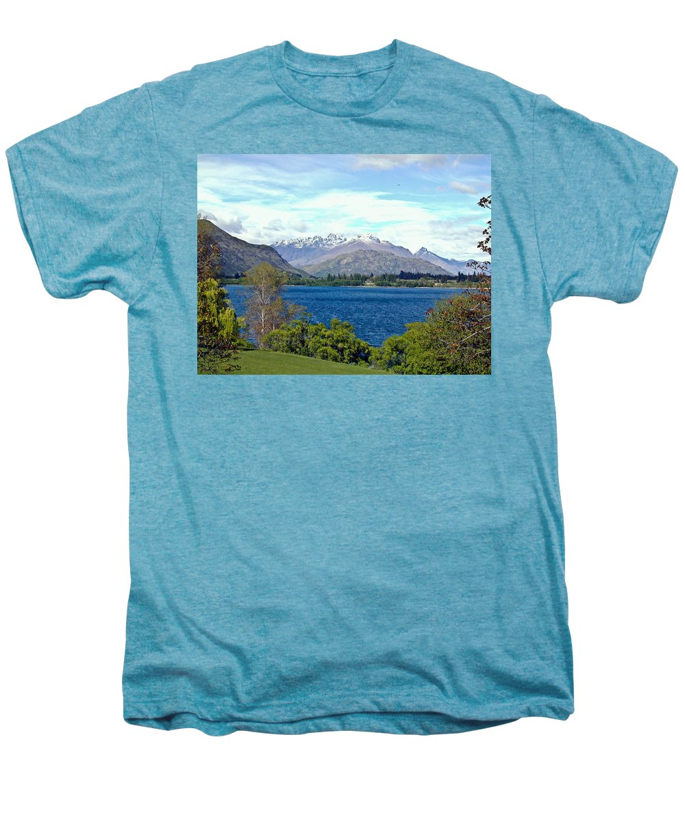 Lake Men's Premium T-Shirt featuring the photograph Peaceful Lake -- New Zealand by Douglas Barnett