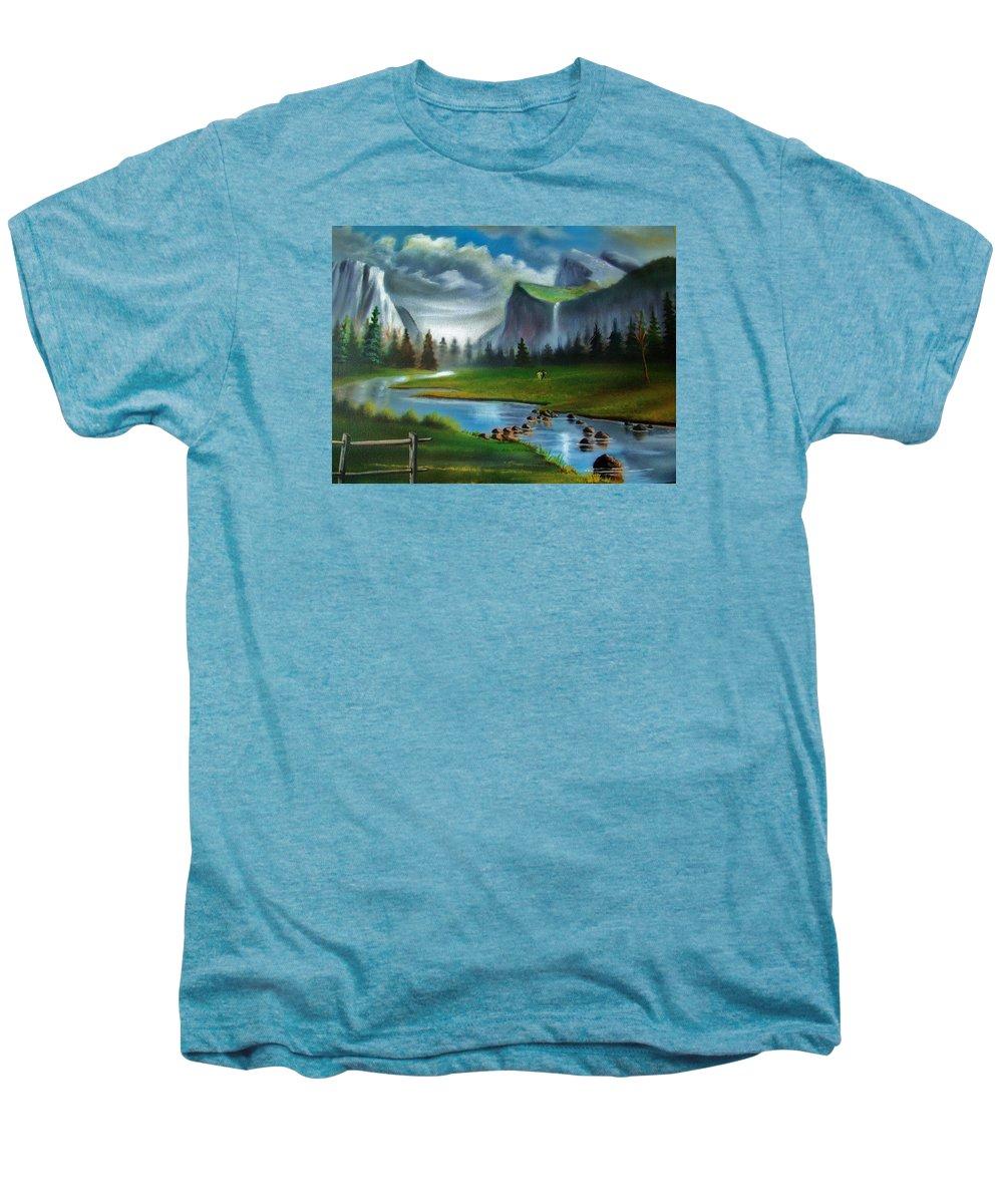 Landscape Men's Premium T-Shirt featuring the painting Peaceful Retreat by Scott Easom