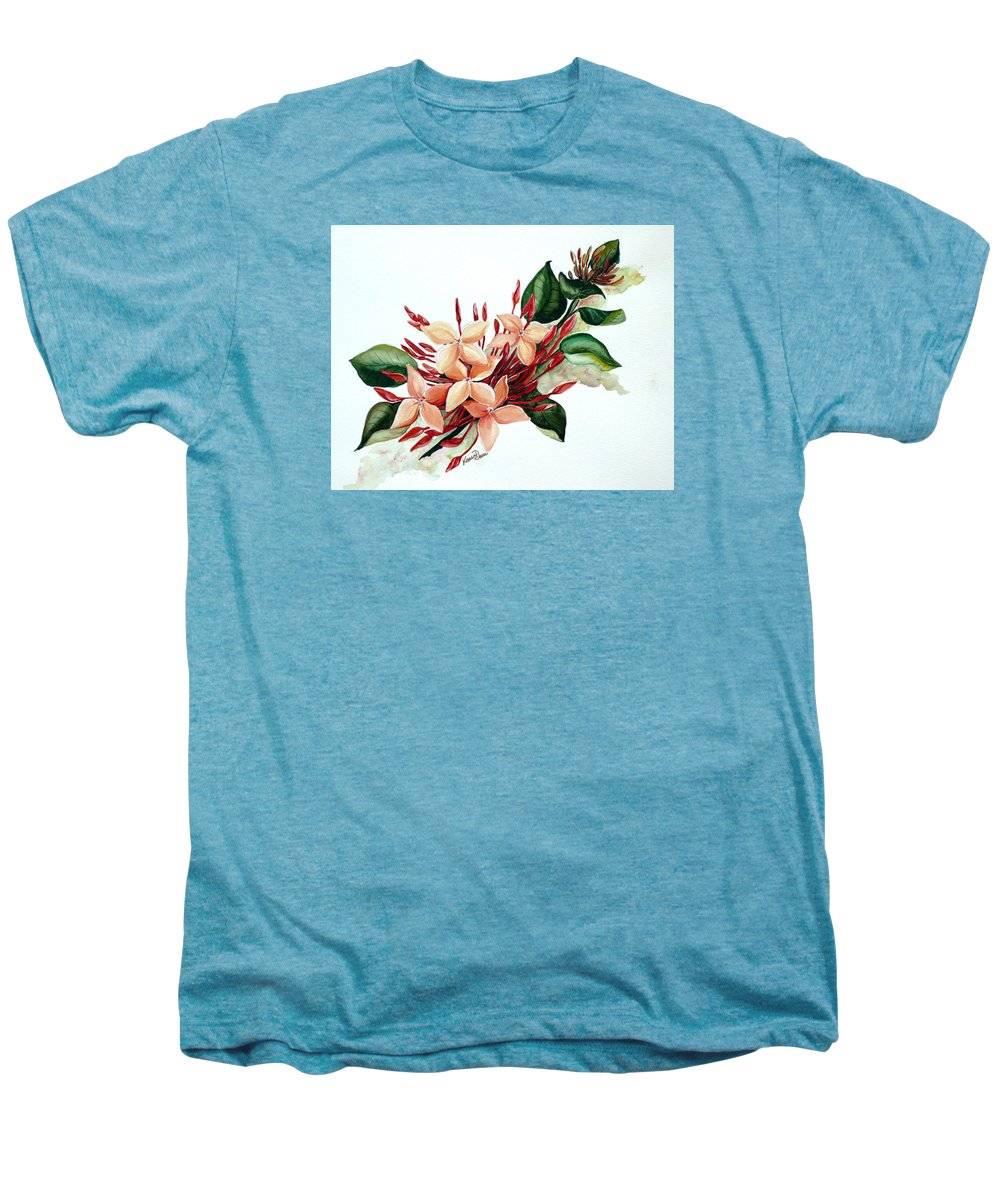 Floral Peach Flower Watercolor Ixora Botanical Bloom Men's Premium T-Shirt featuring the painting Peachy Ixora by Karin Dawn Kelshall- Best